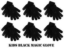 1-6 Pairs Kids Childrens Thermal Magic Winter Gloves Black Stretch Boys Girls