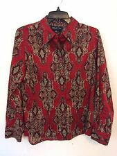 3099) NWOT Jones New York M 8 red paisley button down cotton fitted shirt blouse