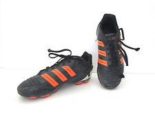 Adidas black soccer shoes cleats neon orange trim Boys 1.5