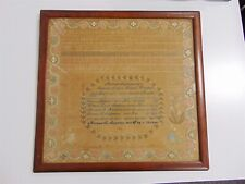 Antique Mid 1800's Original Embroidery Sampler Applebee Framed w/ Glass 19x20""