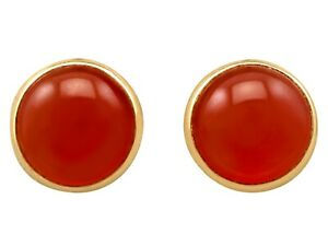 Vintage 5.50ct Agate and 18ct Yellow Gold Stud Earrings Circa 1980