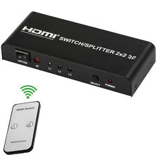 1080P 3D 2 x 2 Remote Control HDMI Splitter for HDTV with US Plug - 100 - 240V