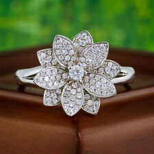 1/2 carat tw Round Diamond Ring 18K White Gold Right Hand Pave Flower Cluster ct