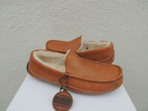 UGG TAN ASCOT PINNACLE HORWEEN LEATHER SLIPPERS, US 8/ EUR 41 ~FITS SMALL~ NIB