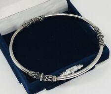 Vintage Sterling Silver 925 Bangle Ethnic Artisan Design Fully Hallmarked Pretty