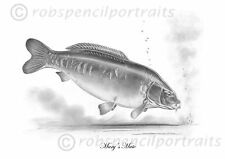 MARY'S MATE Famous Wraysbury Carp legends Pencil Drawing Art Print Picture