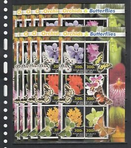 Butterflies Orchids  Insects 2003 Ivory Coast MNH 6v M/s perf X 10 Wholesale lot