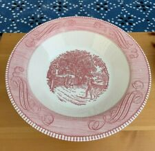 Vintage CURRIER & IVES Royal China PINK RED Very Large Round Serving Bowl  EXC