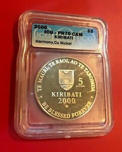2000 $5 ICG PR70CAM KIRIBATI HARMONY CU NICKEL PERFECT