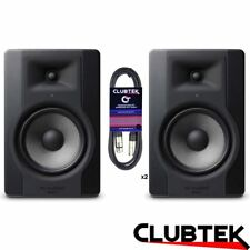 2 x M-Audio BX8 D3 300W PAIR Bi-Amplified Studio Monitor Speakers with Leads UK