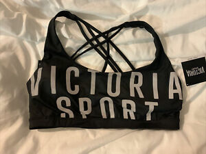 Victoria secrets sports bra size large Black With Grey Letters