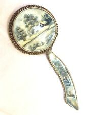 Antique Hand Painted on Abalone Shell Silver Hand Mirror, One of Kind