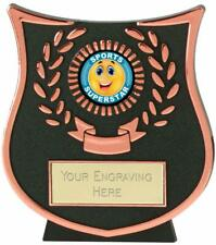 Emblems-Gifts Curve Bronze Happy Sports Superstar Trophy With Free Engraving