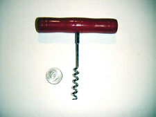 vintage corkscrew with perfect red paint wood handle unusual & Nice!