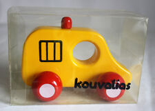 ULTRA RARE VINTAGE KOUVALIAS POLICE CAR 1 WOODEN GREEK TOY GREECE NEW IN BOX !