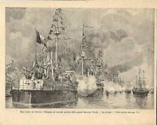 Stampa antica MANOVRE NAVALI nel GOLFO di NAPOLI navi 1893 Antique print