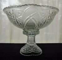 Indiana Glass Clear Paneled Daisy & Finecut Heirloom 4 quart Punch Bowl & Base