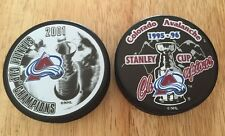 Lot Of (2) 1996 & 2001 COLORADO AVALANCHE NHL STANLEY CUP CHAMPIONS HOCKEY PUCKS