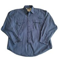 Wrangler Blue Vented L/S Button Up Shirt Outdoor Size L Large
