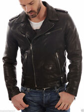 Men's Genuine Lambskin Leather Jacket Black Slim fit Biker Motorcycle jacket 503