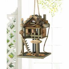 "Birdville Wooden Rustic Backyard Treehouse Style Garden Birdhouse 12"" tall New"