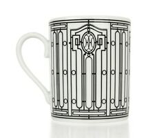 Hermes H Deco Mugs White and Black Set of 4 new