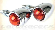 Speeder Bullet Turn Signal Lights Chrome Aluminum Amber Lens Harley Davidson