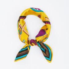 100% Silk Yellow Scarf Women Vintage Horse Print Small Soft Bandana Scarves 53cm