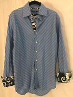 Robert Graham Mens Blue Shirt Size Flip Cuff Cotton Diagonal Stripes Casual