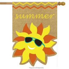 "Summer Sunface Burlap House Flag Seasonal Sunshine 28"" x 40"" Briarwood Lane"