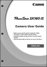 Canon Powershot SX160 IS Digital Camera User Instruction Guide  Manual