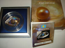 2011 Palau 5 Dollars -The oyster shell with pearl-convex hologram - perfect