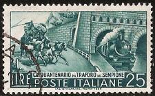 ITALIA REPUBBLICA - Traforo Sempione, 25 L. verde sc. (797) - usato - rif.159 RE