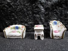 Beautiful Victorian Pattern - Limoges - Miniature Couch, Chair, End Table