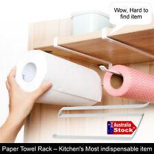HANGING ROLL PAPER TOWEL RAIL RACK HOLDER KITCHEN CUPBOAD SHELF No Installation
