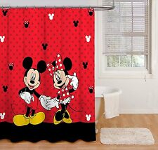 """Disney Mickey Mouse and Minnie Mouse 70"""" x 72"""" Fabric Shower Curtain"""