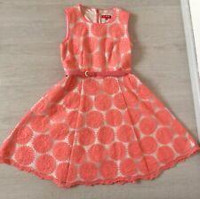 DERHY Kleid mit Transparentem Stoff und Stickereien Beige/Apricot,Gr.M gefüttert