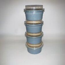 4 Regas Ramekins Custard Small Blue Ceramic Baking Dishes W 4 Lids