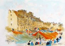 Urbain Huchet MARKET IN RENNES Hand Signed Limited Edition Lithograph