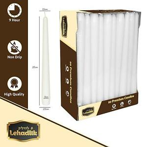 50X Quality Unscented Bistro Tapered 25cm White Dinner CANDLES 8-9Hr Burn Time