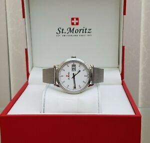 Rotary St.Moritz SWISS MADE Mens Watch MESH Bracelet Sapphire Glass Slim RRP£250