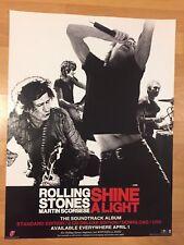 "Rare ROLLING STONES Shine A Light 18"" x 24"" Promo Poster Tour MARTIN SCORSESE"
