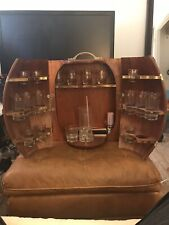 Vtg/Antique Mid-Century Travel Bar Set Wood Wine Barrel Case Man Cave Game Room