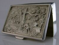 ENGLISH SOLID STERLING SILVER PILL SNUFF TRINKET BOX HUNTING SHOOTING 1991