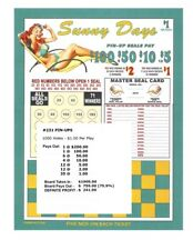 PROGRESSIVE 50c 5W BONUS 250 seal card Bingo Pull Tab Tip Board 1-$250