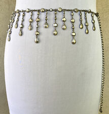Vintage Brushed Silver Chain Belt with Dangly Bits