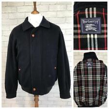 Mens Vintage BURBERRY Navy Blue Wool & Cashmere Bomber Jacket Coat Large #B3451
