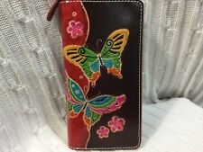 "HAND MADE EMBOSSED GENUINE LEATHER BUTTERFLY WALLET/CLUTCH/WRISTLET(4.0"" X 8.0"")"