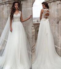 New White/Ivory Bow belt Holes Back Lace Wedding Dress Bridal Gown Custom Size