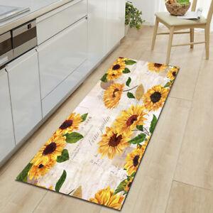 Non-Slip Kitchen Mat Rubber Backing Doormat Sunflower Runner Rug Bathroom Carpet